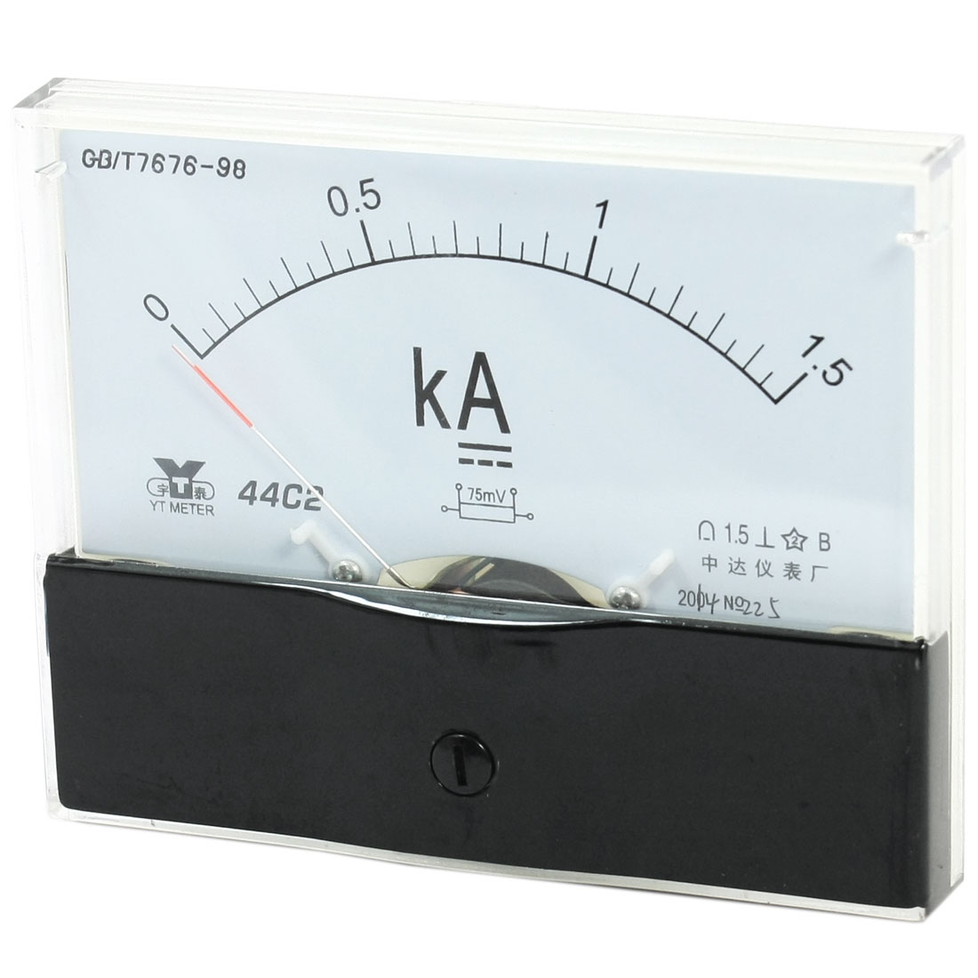 Rectangle Measurement Tool Analog Panel Ammeter Gauge DC 0 - 1.5KA Measuring Range 44C2