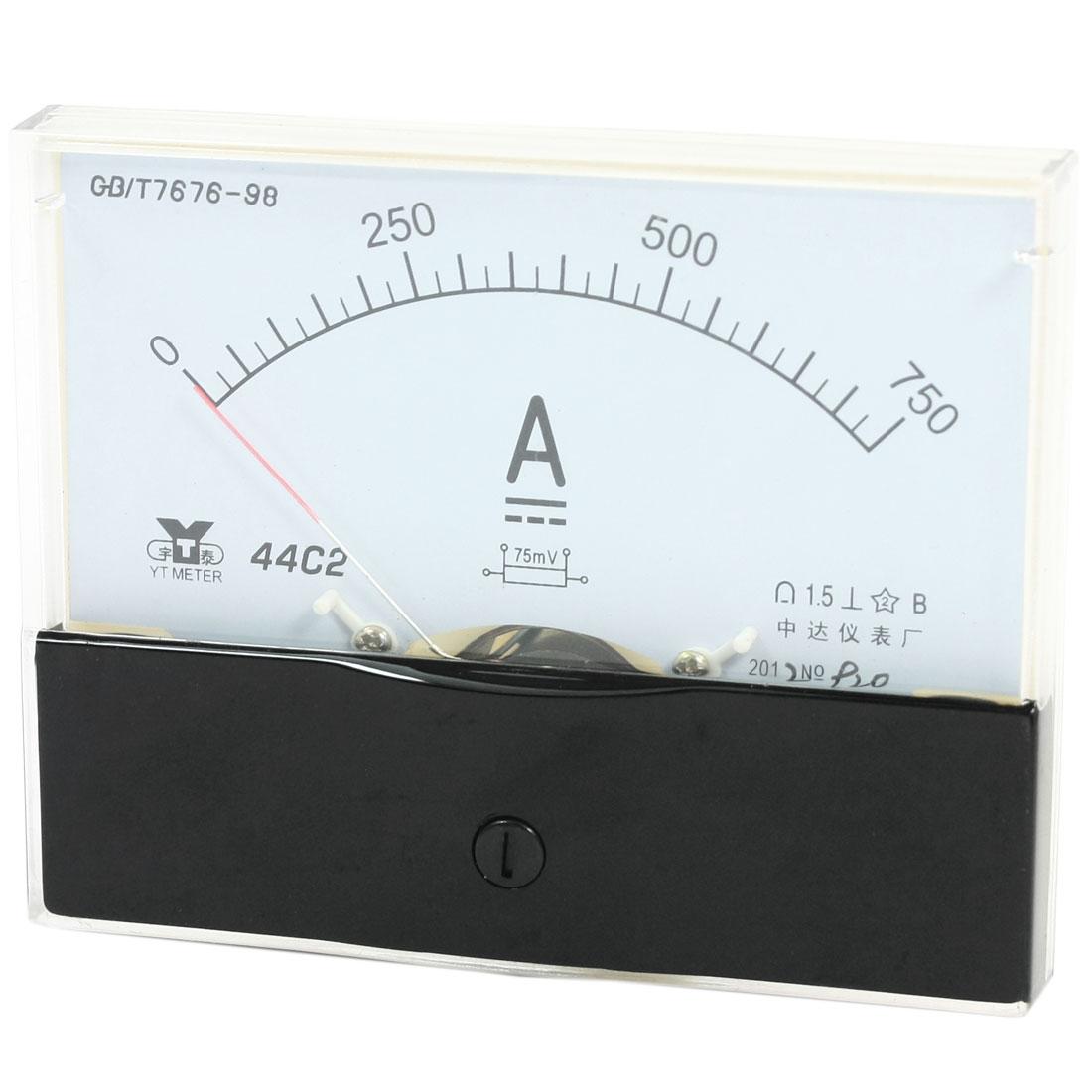 Rectangle Measurement Tool Analog Panel Ammeter Gauge DC 0 - 750A Measuring Range 44C2