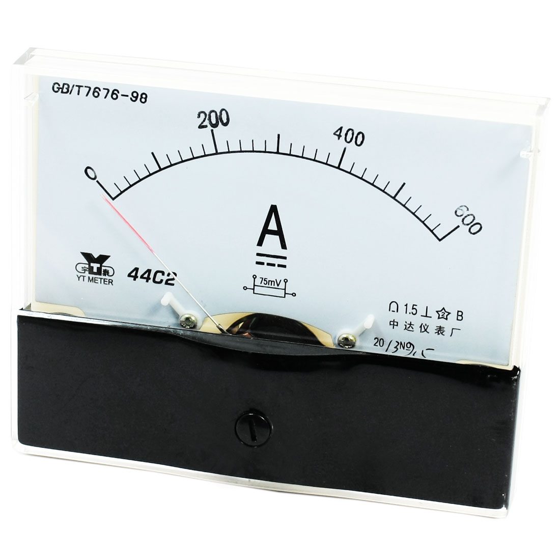 Rectangle Measurement Tool Analog Panel Ammeter Gauge DC 0 - 600A Measuring Range 44C2