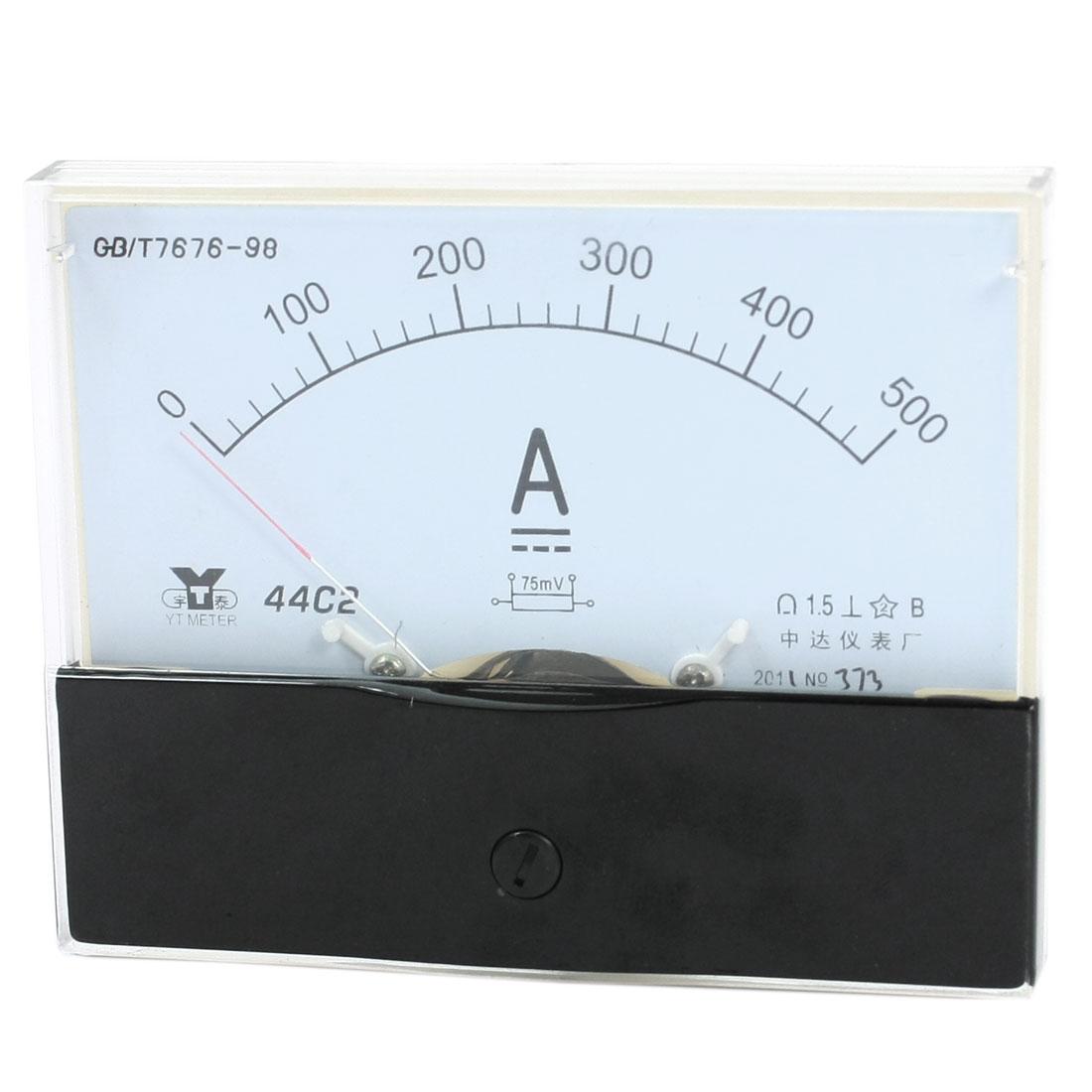 Rectangle Measurement Tool Analog Panel Ammeter Gauge DC 0 - 500A Measuring Range 44C2