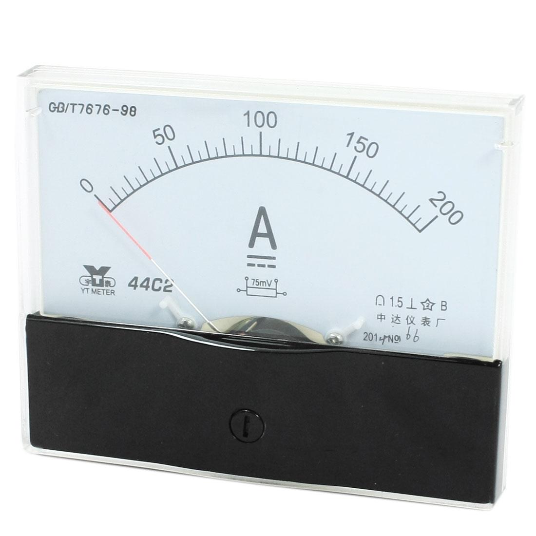 Measurement Tool Panel Mount Analog Ammeter Gauge DC 0 - 200A Measuring Range 44C2