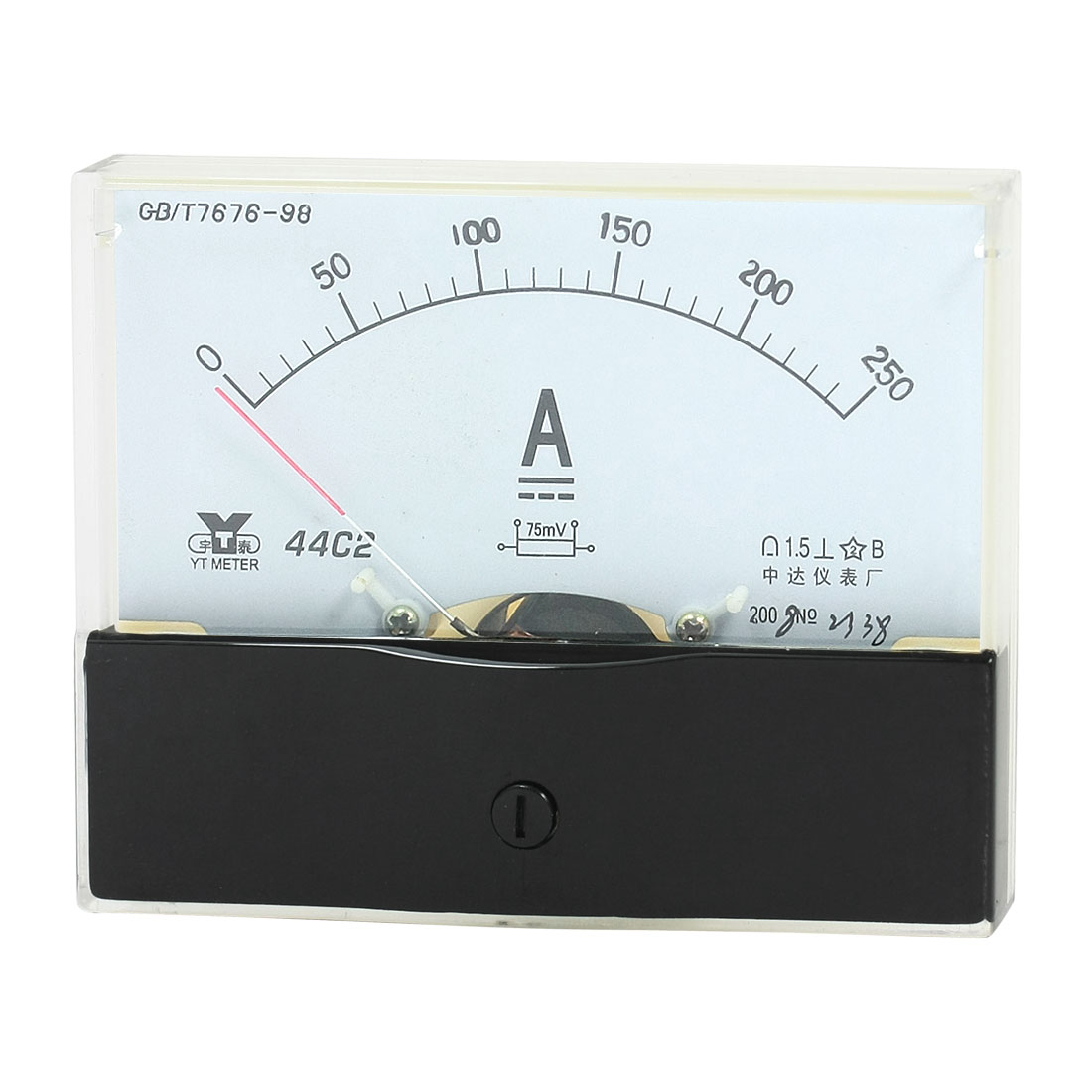 Rectangle Measurement Tool Analog Panel Ammeter Gauge DC 0 - 250A Measuring Range 44C2