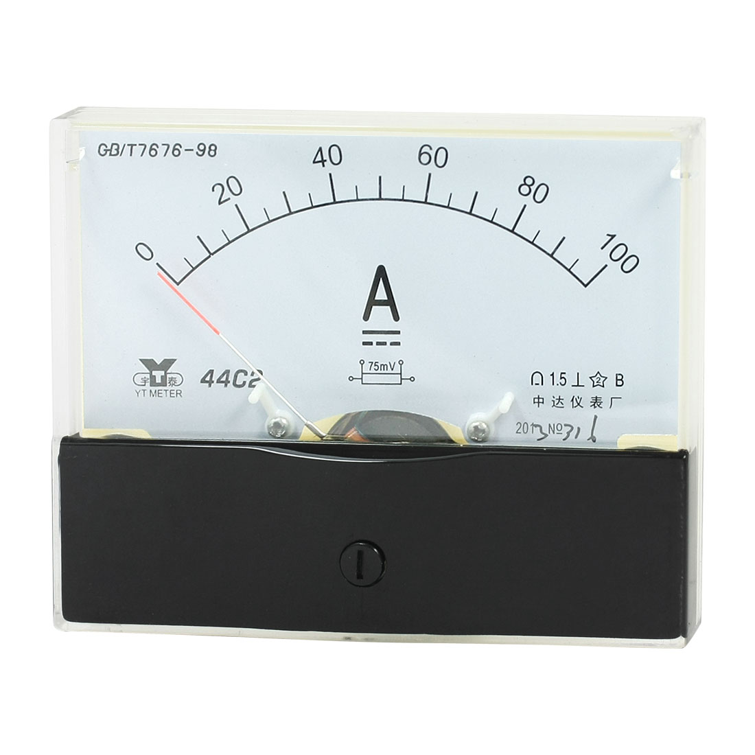 Rectangle Measurement Tool Analog Panel Ammeter Gauge DC 0 - 100A Measuring Range 44C2