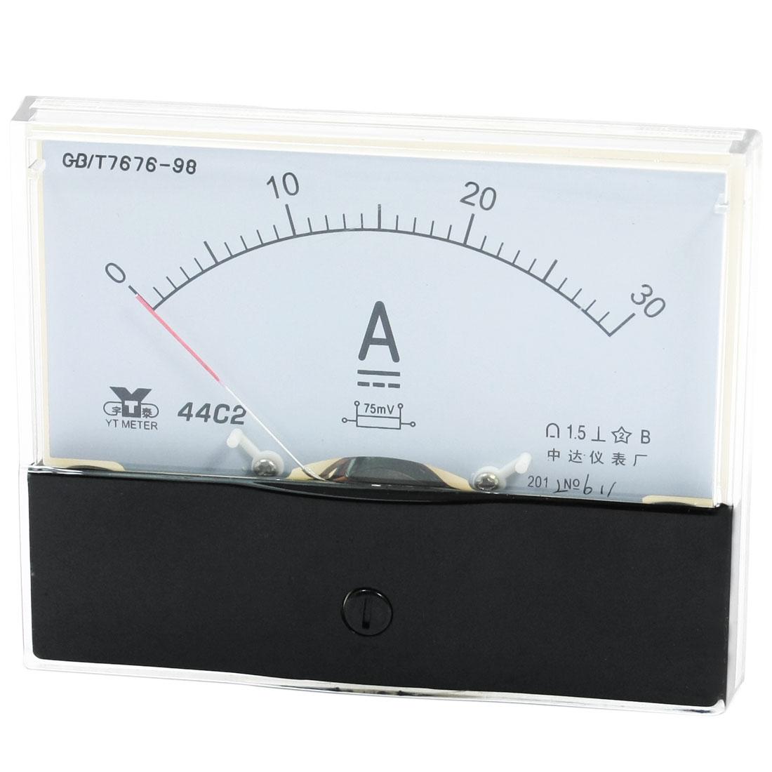 Rectangle Measurement Tool Analog Panel Ammeter Gauge DC 0 - 30A Measuring Range 44C2