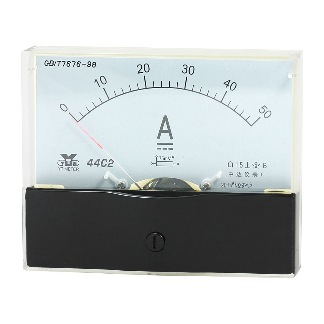 Rectangle Measurement Tool Analog Panel Ammeter Gauge DC 0 - 50A Measuring Range 44C2