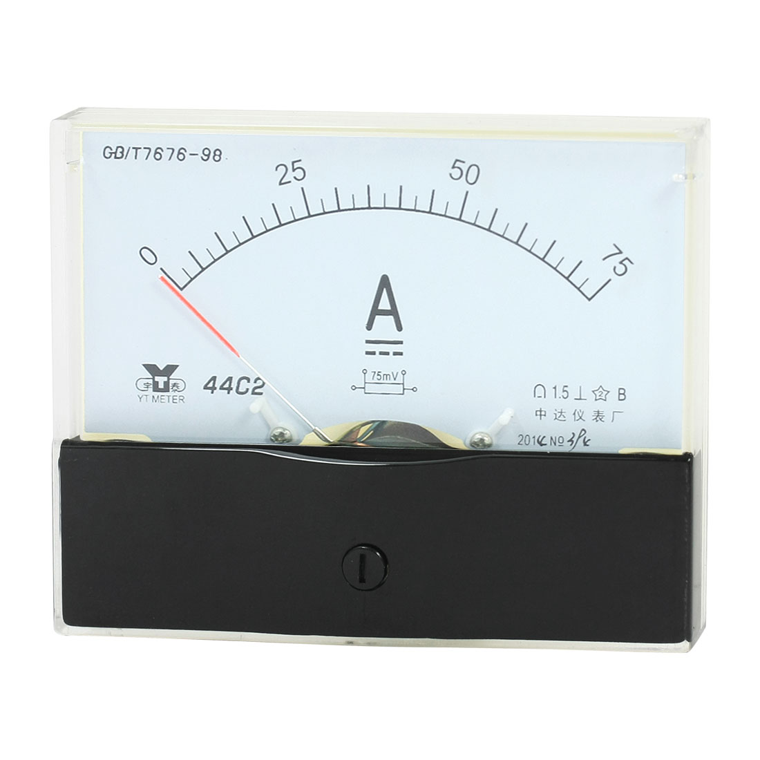 Rectangle Measurement Tool Analog Panel Ammeter Gauge DC 0 - 75A Measuring Range 44C2