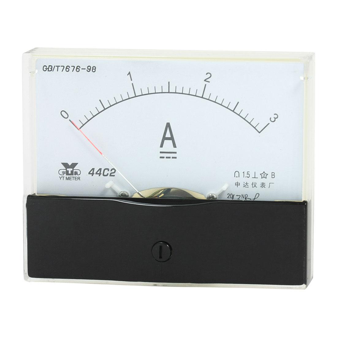 Rectangle Measurement Tool Analog Panel Ammeter Gauge DC 0 - 3A Measuring Range 44C2