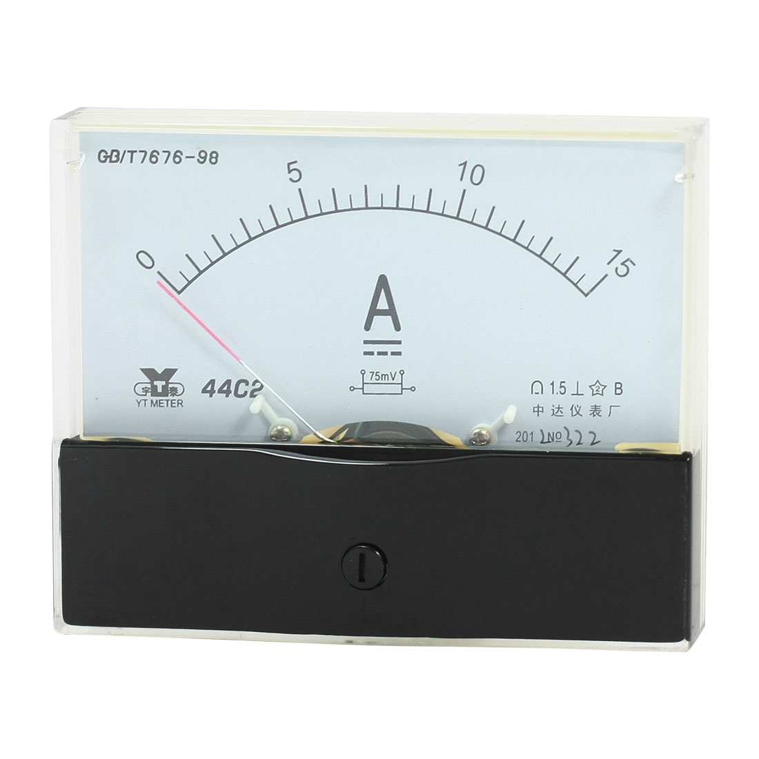 Rectangle Measurement Tool Analog Panel Ammeter Gauge DC 0 - 15A Measuring Range 44C2