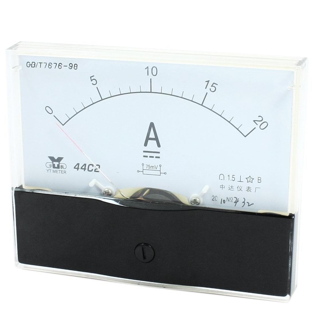 Rectangle Measurement Tool Analog Panel Ammeter Gauge DC 0 - 20A Measuring Range 44C2