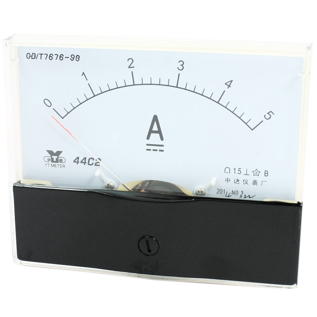 Rectangle Measurement Tool Analog Panel Ammeter Gauge DC 0 - 5A Measuring Range 44C2