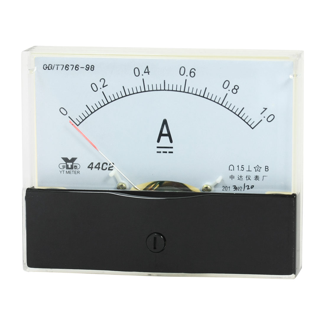 Rectangle Measurement Tool Analog Panel Ammeter Gauge DC 0 - 1A Measuring Range 44C2