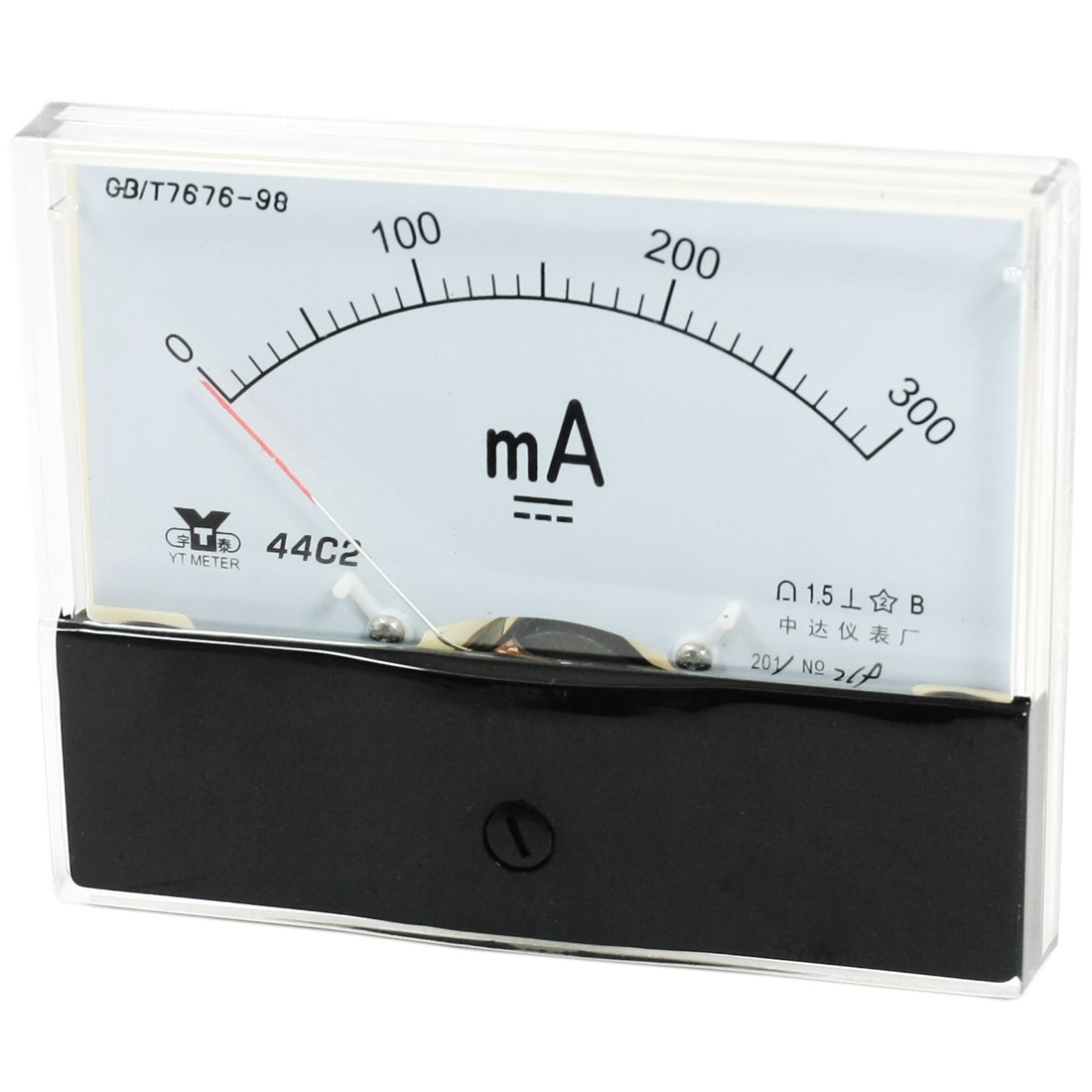 Rectangle Measurement Tool Analog Panel Ammeter Gauge DC 0 - 300mA Measuring Range 44C2