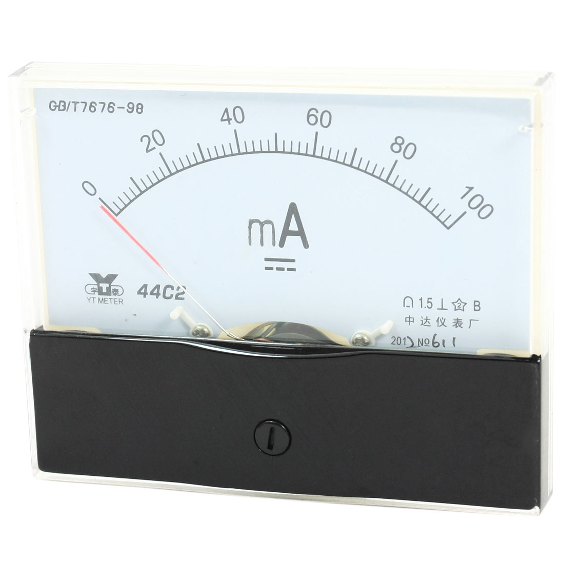 Rectangle Measurement Tool Analog Panel Ammeter Gauge DC 0 - 100mA Measuring Range 44C2