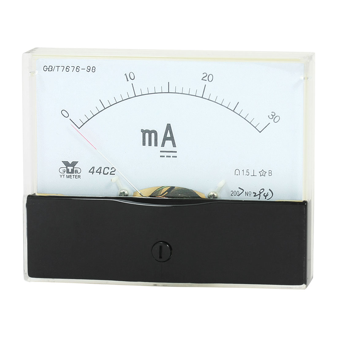 Rectangle Measurement Tool Analog Panel Ammeter Gauge DC 0 - 30mA Measuring Range 44C2