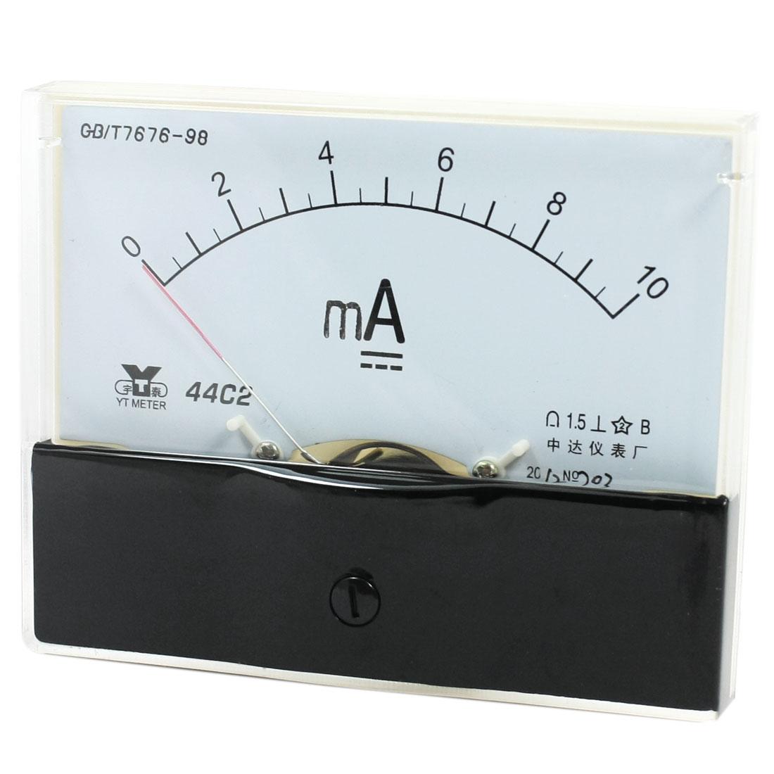 Rectangle Measurement Tool Analog Panel Ammeter Gauge DC 0 - 10mA Measuring Range 44C2