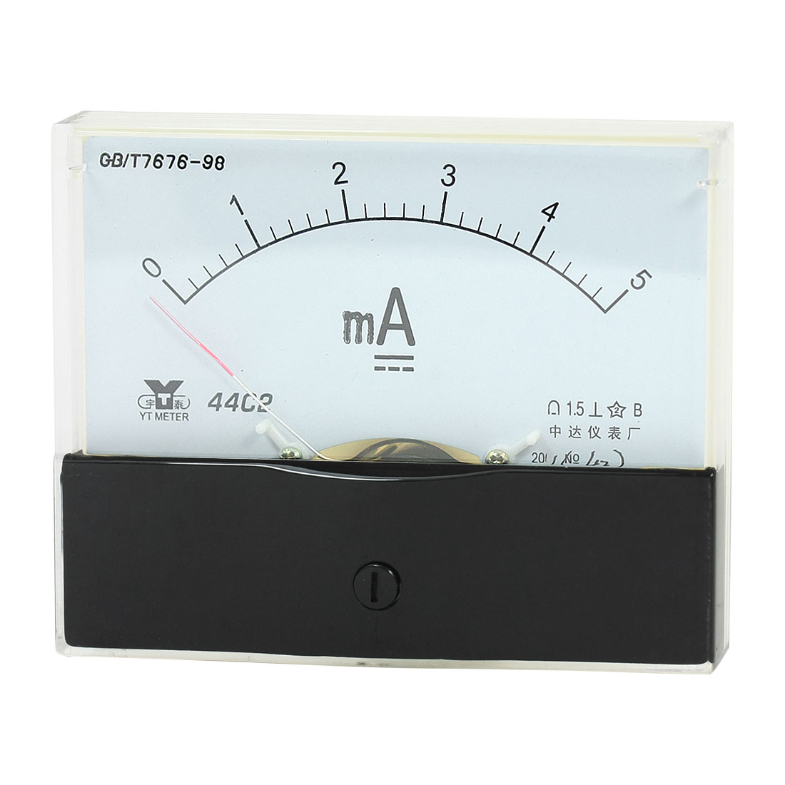 Rectangle Measurement Tool Analog Panel Ammeter Gauge DC 0 - 5mA Measuring Range 44C2