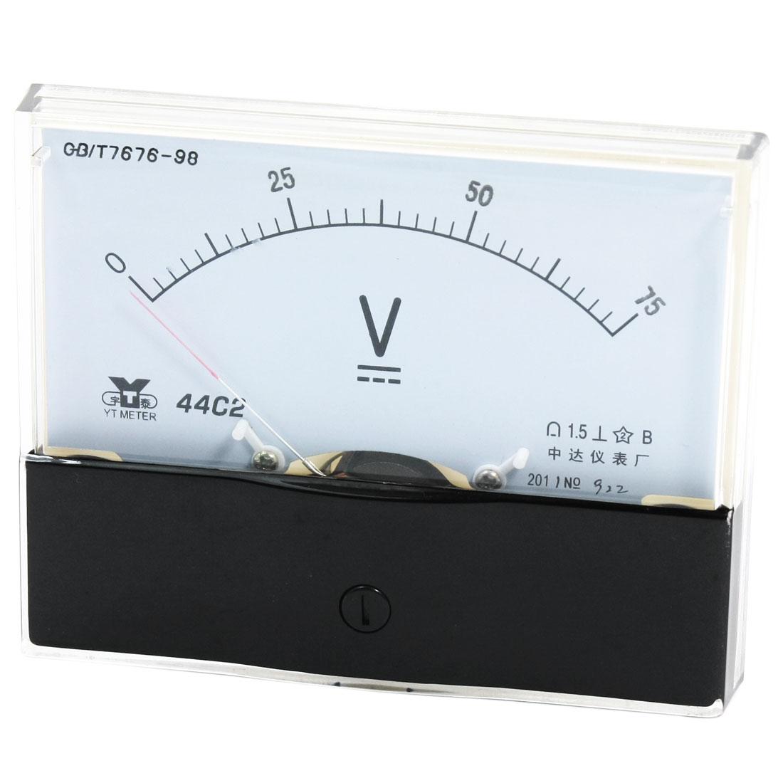 Rectangle Measurement Tool Analog Panel Voltmeter Volt Meter DC 0 - 75V Measuring Range 44C2
