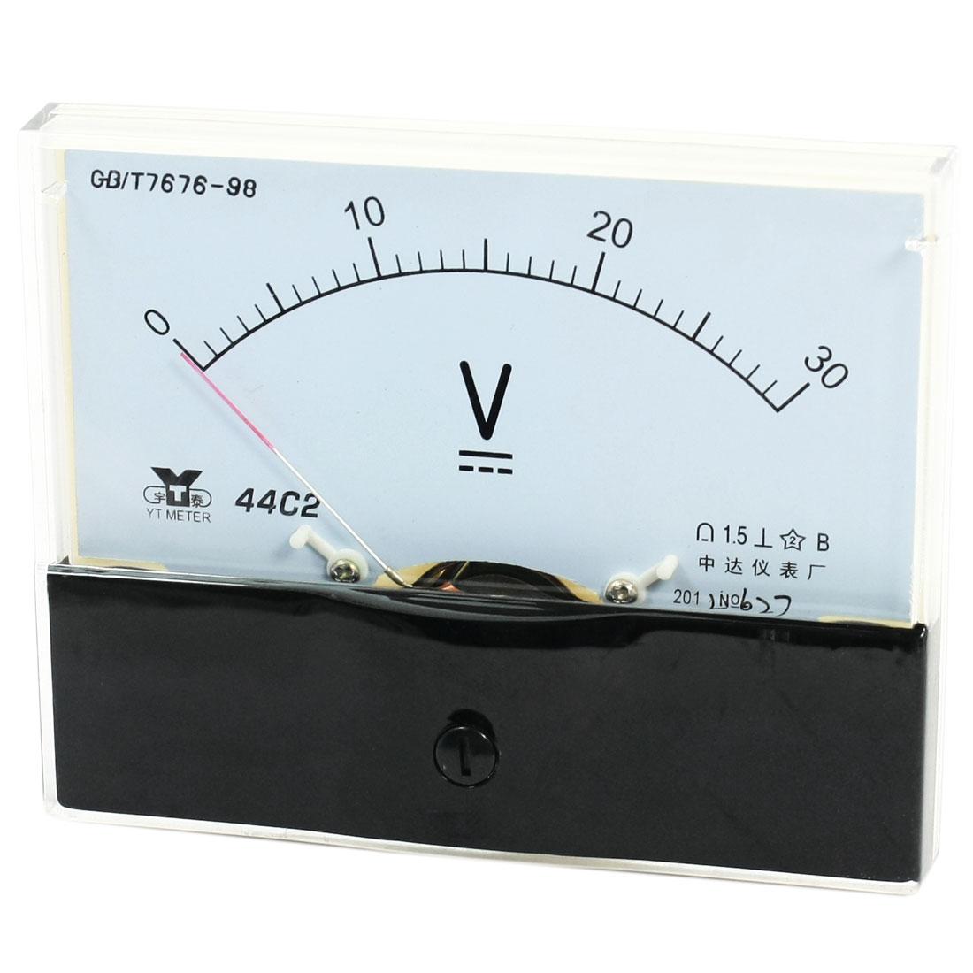Rectangle Measurement Tool Analog Panel Voltmeter Volt Meter DC 0 - 30V Measuring Range 44C2