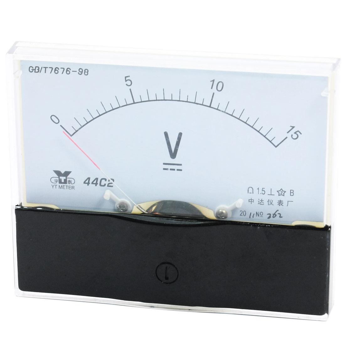 Rectangle Measurement Tool Analog Panel Voltmeter Volt Meter DC 0 - 15V Measuring Range 44C2
