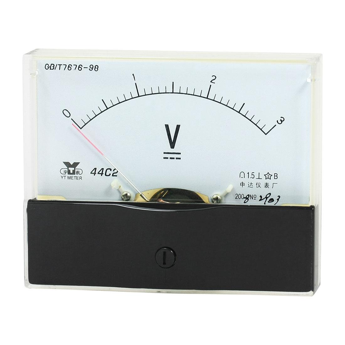 Measurement Tool Panel Mount Analog Voltmeter Volt Meter DC 0 - 3V Measuring Range 44C2