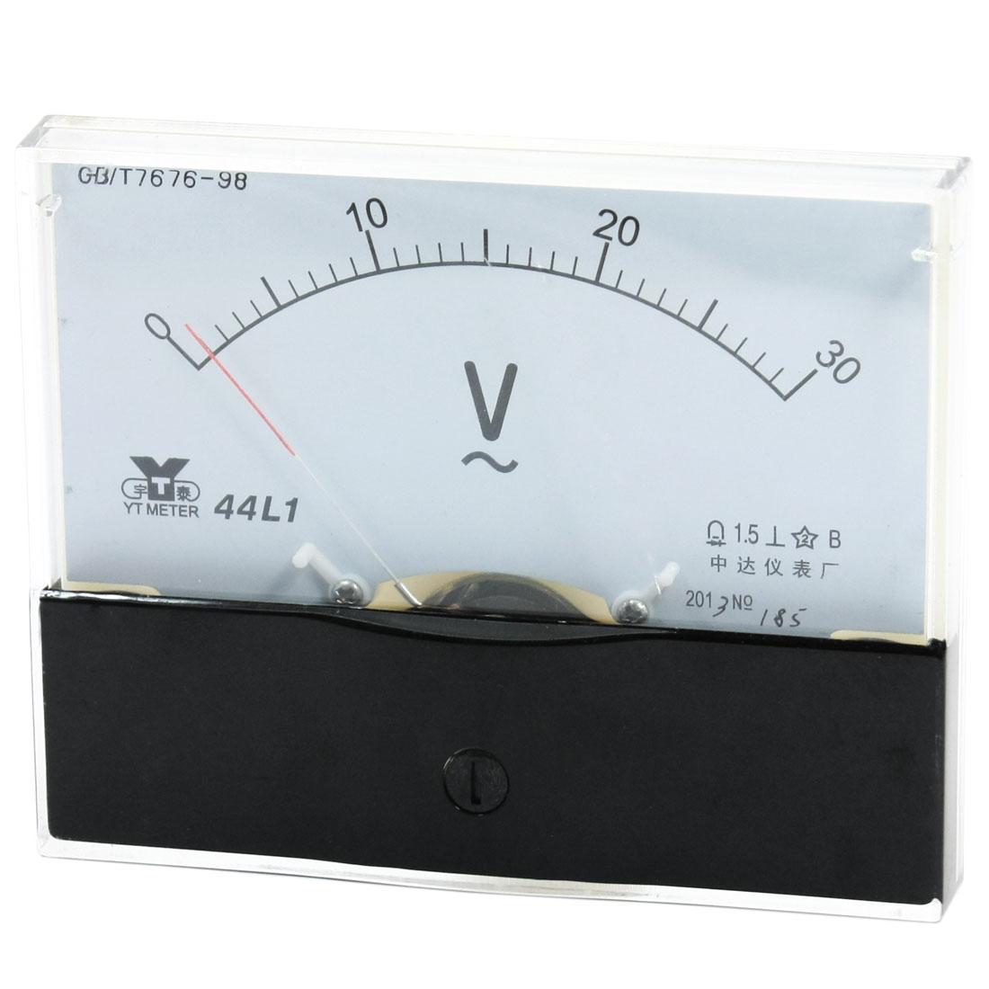 Rectangle Measurement Tool Analog Panel Voltmeter Volt Meter AC 0 - 30V Measuring Range 44L1