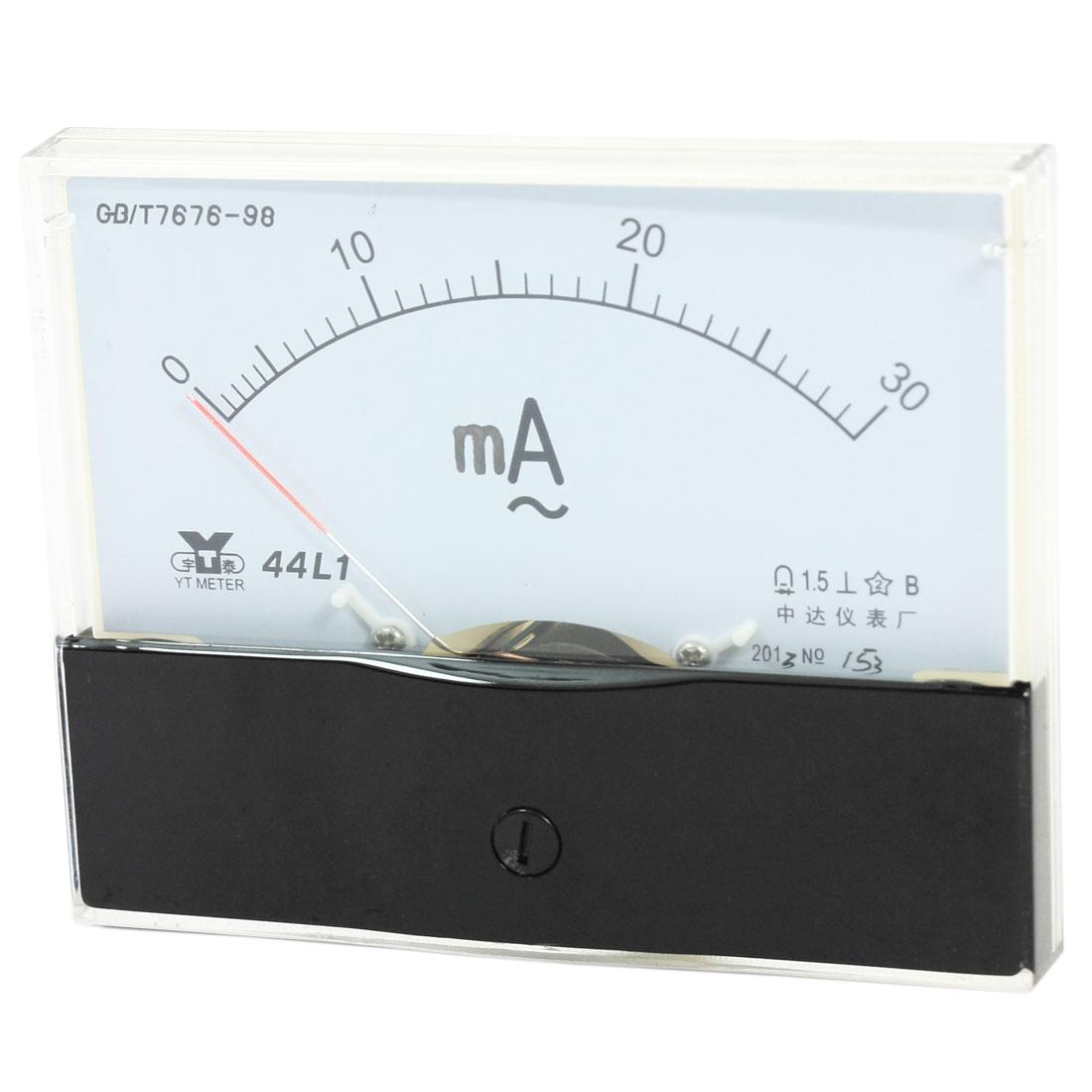 Measurement Tool Panel Mount Analog Ammeter Gauge AC 0 - 30mA Measuring Range 44L1