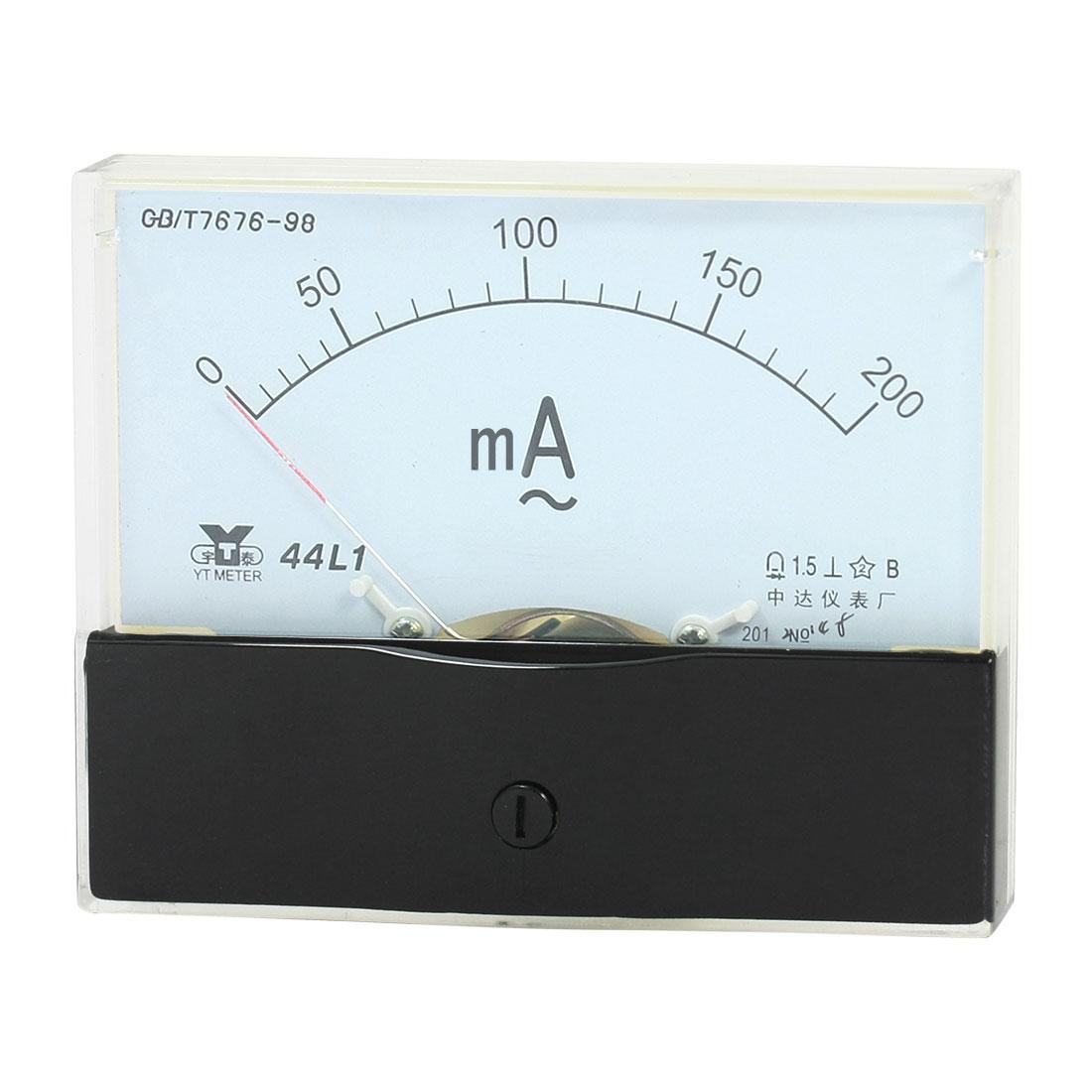 Measurement Tool Panel Mount Analog Ammeter Gauge AC 0 - 200mA Measuring Range 44L1