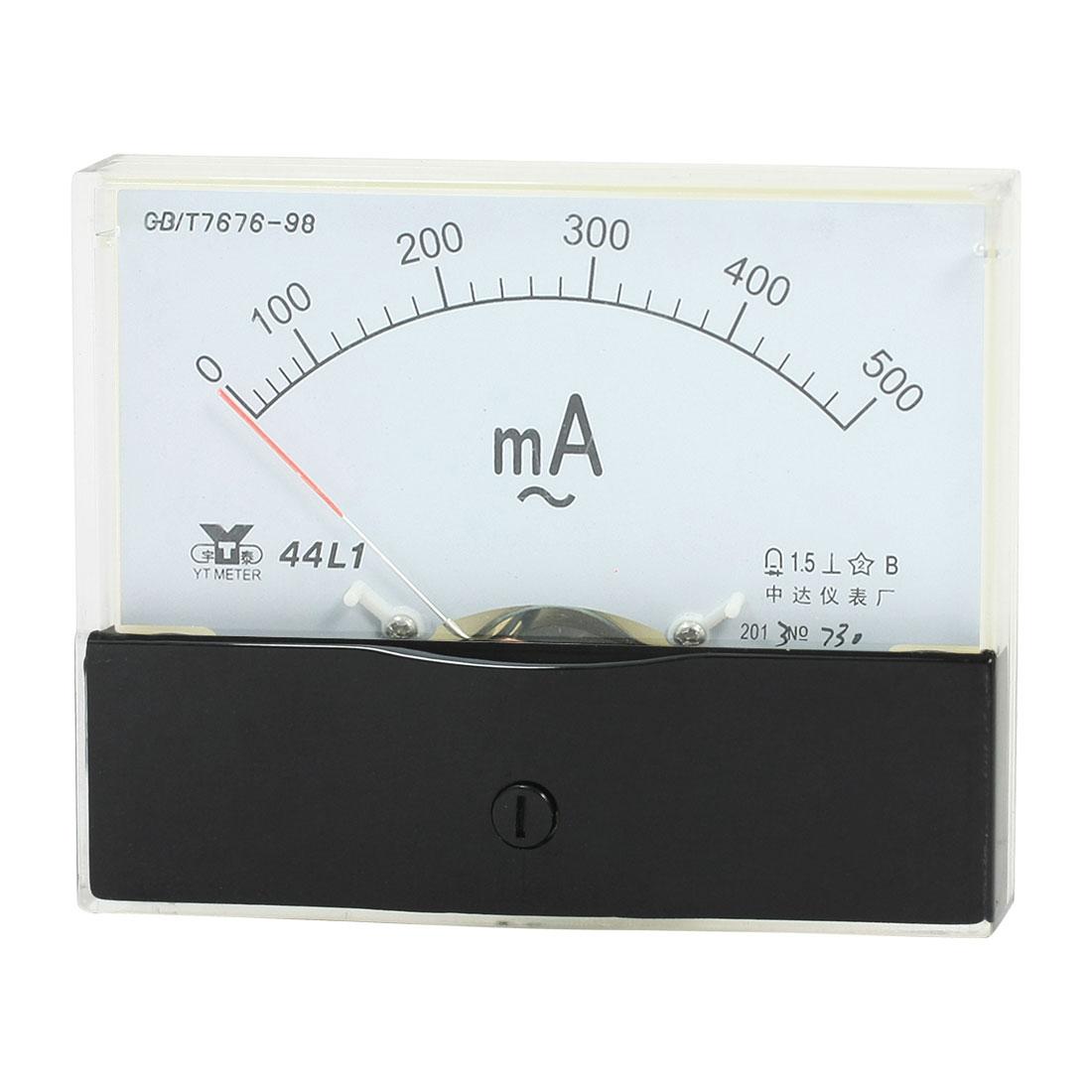 Measurement Tool Analog Panel Ammeter Gauge AC 0 - 500mA Measuring Range