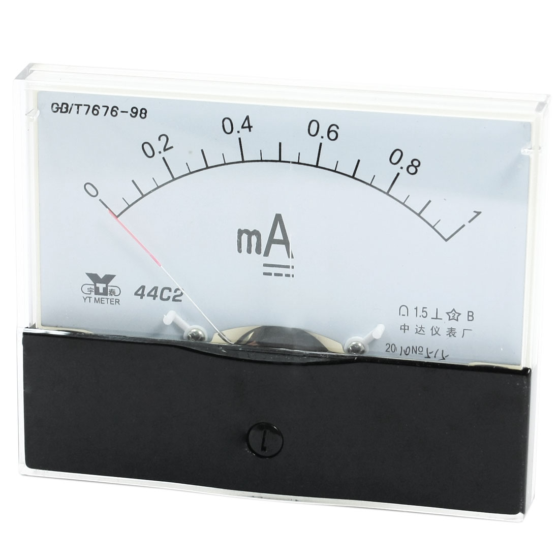 Rectangle Measurement Tool Analog Panel Ammeter Gauge DC 0 - 1mA Measuring Range 44C2