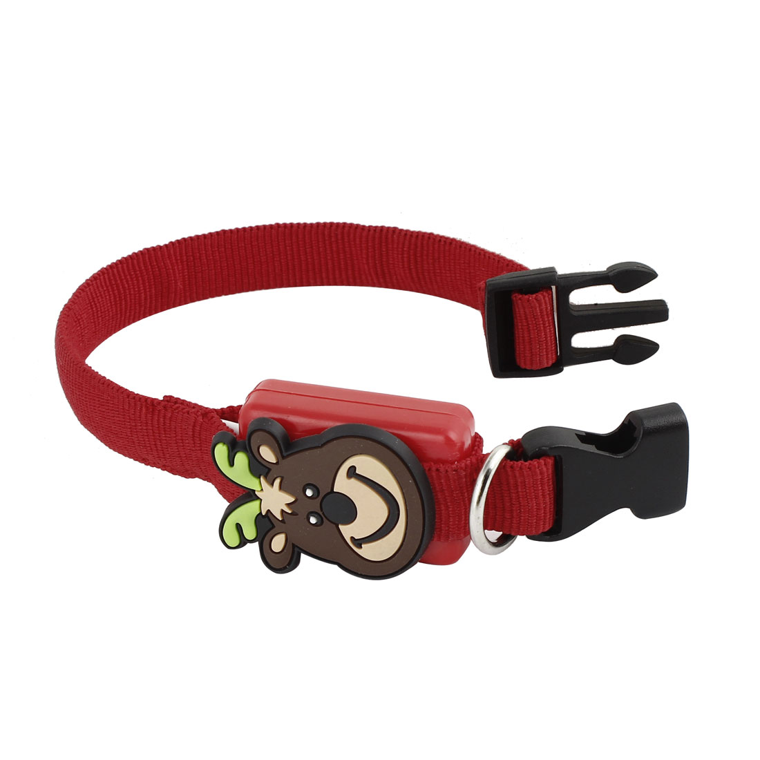 Release Buckle Nylon Strap Bear Head Design Accent 3 Modes LED Light Pet Dog Puppy Safety Collar Red