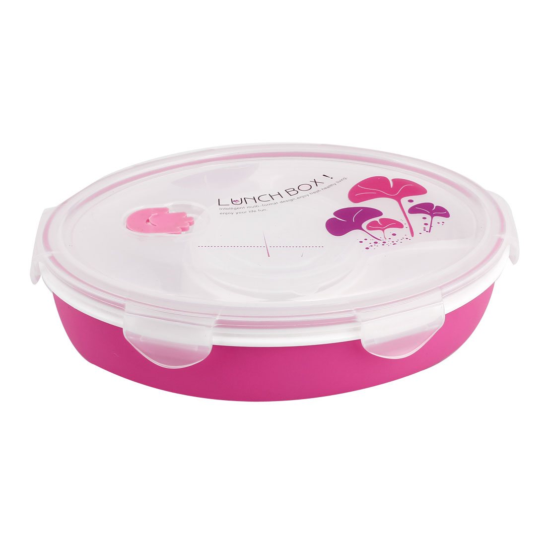 Fuchsia Clear Plastic Egg Shape Thermal Insulated Multi Compartment Design Lunch Box Food Storage Container w Soup Case