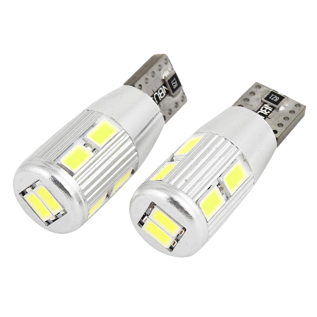 2 Pcs Car T10 147 White 5630 SMD 10 LED Wedge Light Canbus Signal Turn Lamp Bulb internal