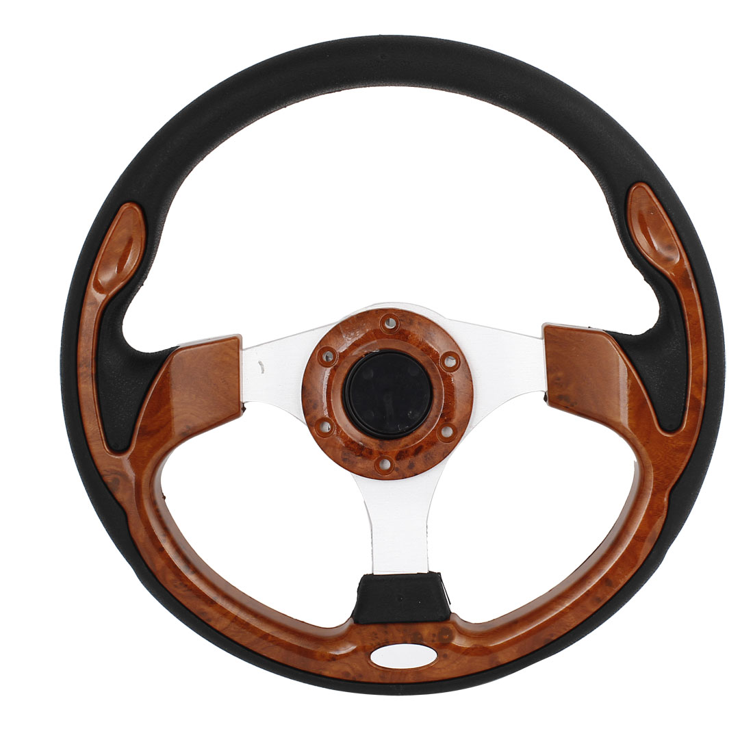 Brwon Plastic Black Faux Leather Coated Steering Wheel 30cm Dia w Screws for Auto
