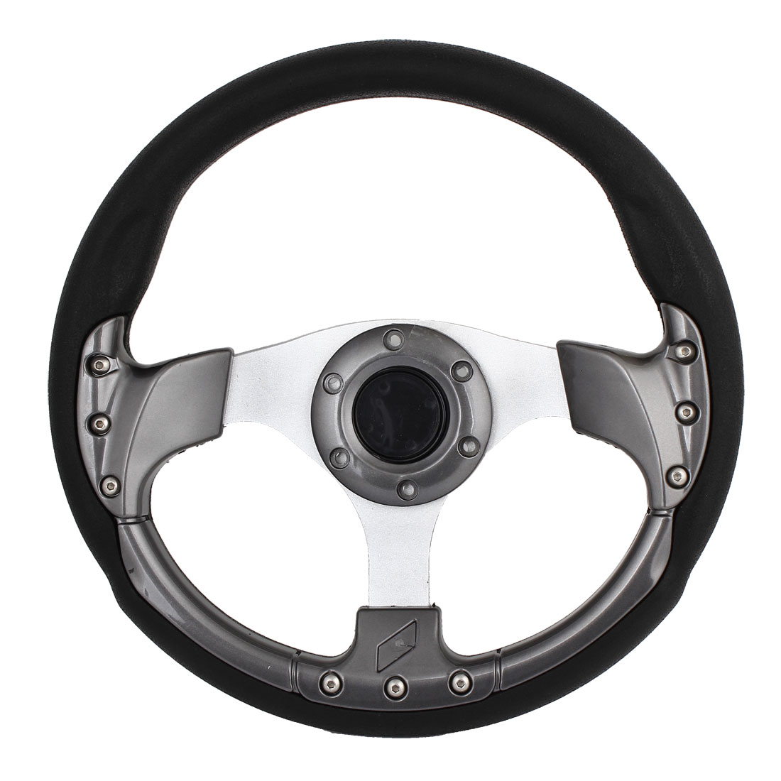 32cm Dia Gary Black Plastic Faux Leather Coated Racing Steering Wheel Spare Part for Car