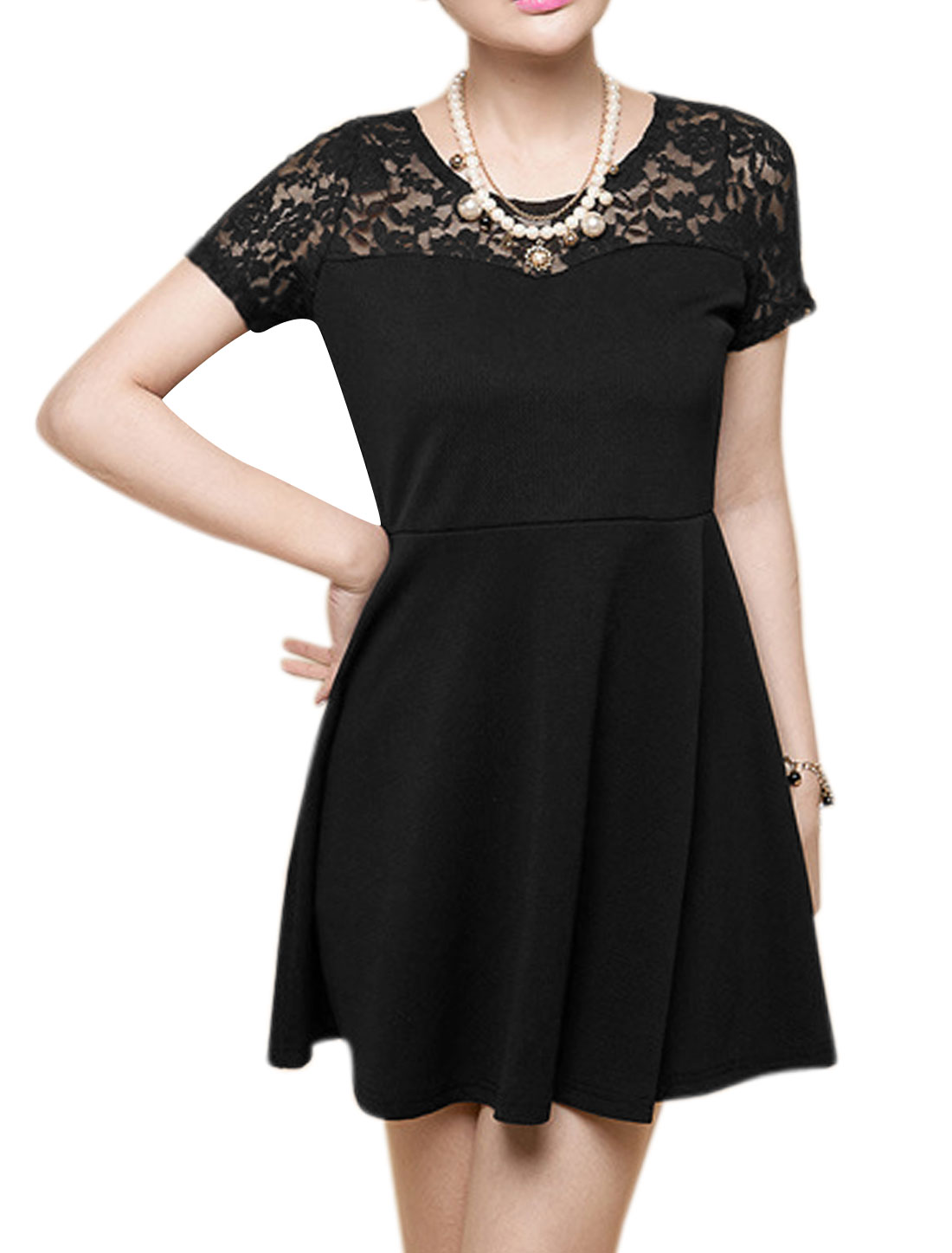 Ladies Sweet Short Sleeve Lace Splicing A Line Skater Dress Black S