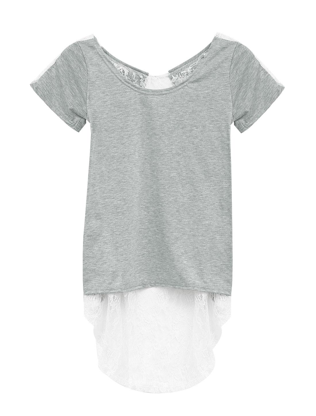 Lady's Short Sleeve Scoop Neck Asymmetrical Hem Lace Panel Tee Shirt Gray XS