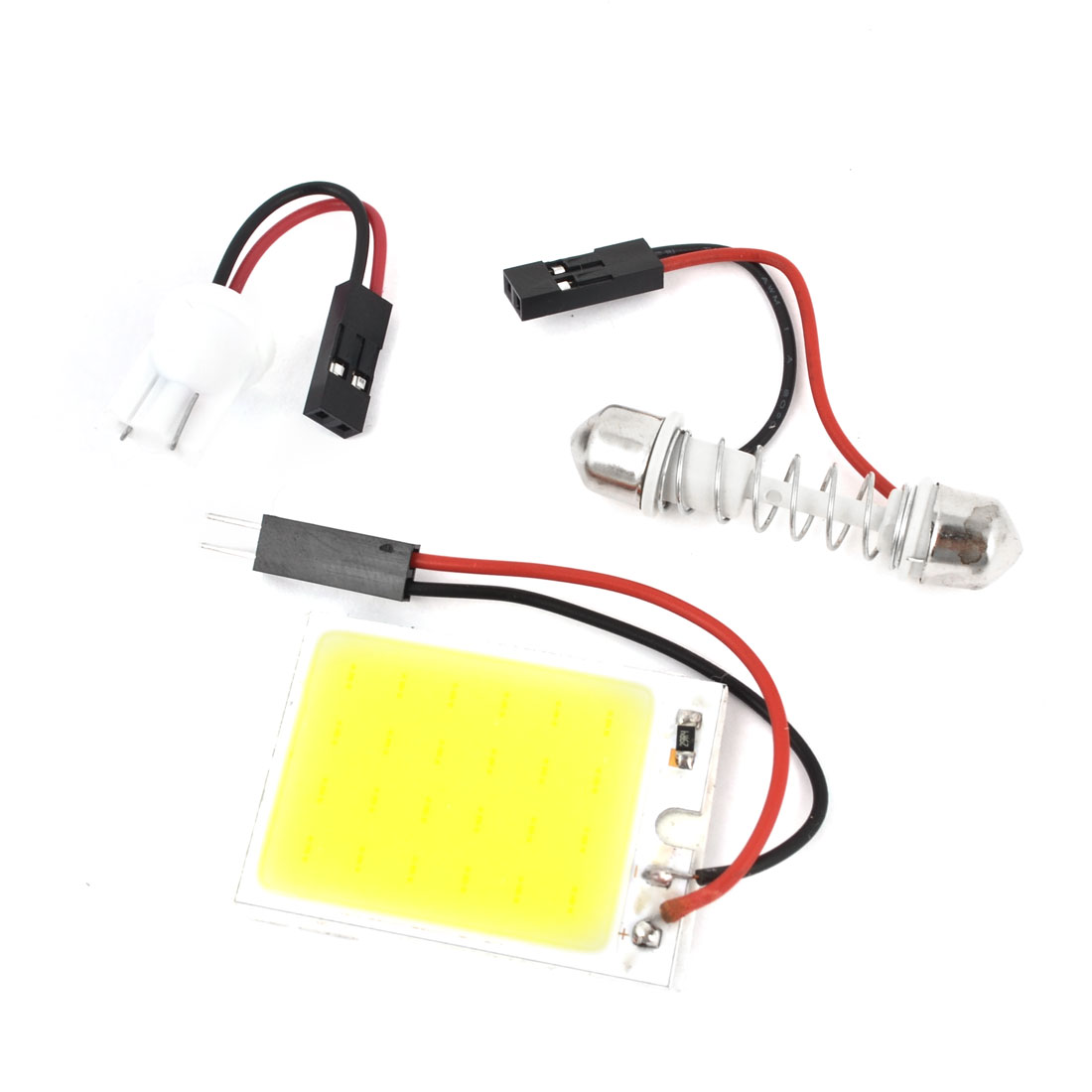 Car Interior White 48 COB LED Dome Light Panel + T10 Festoon Adapter