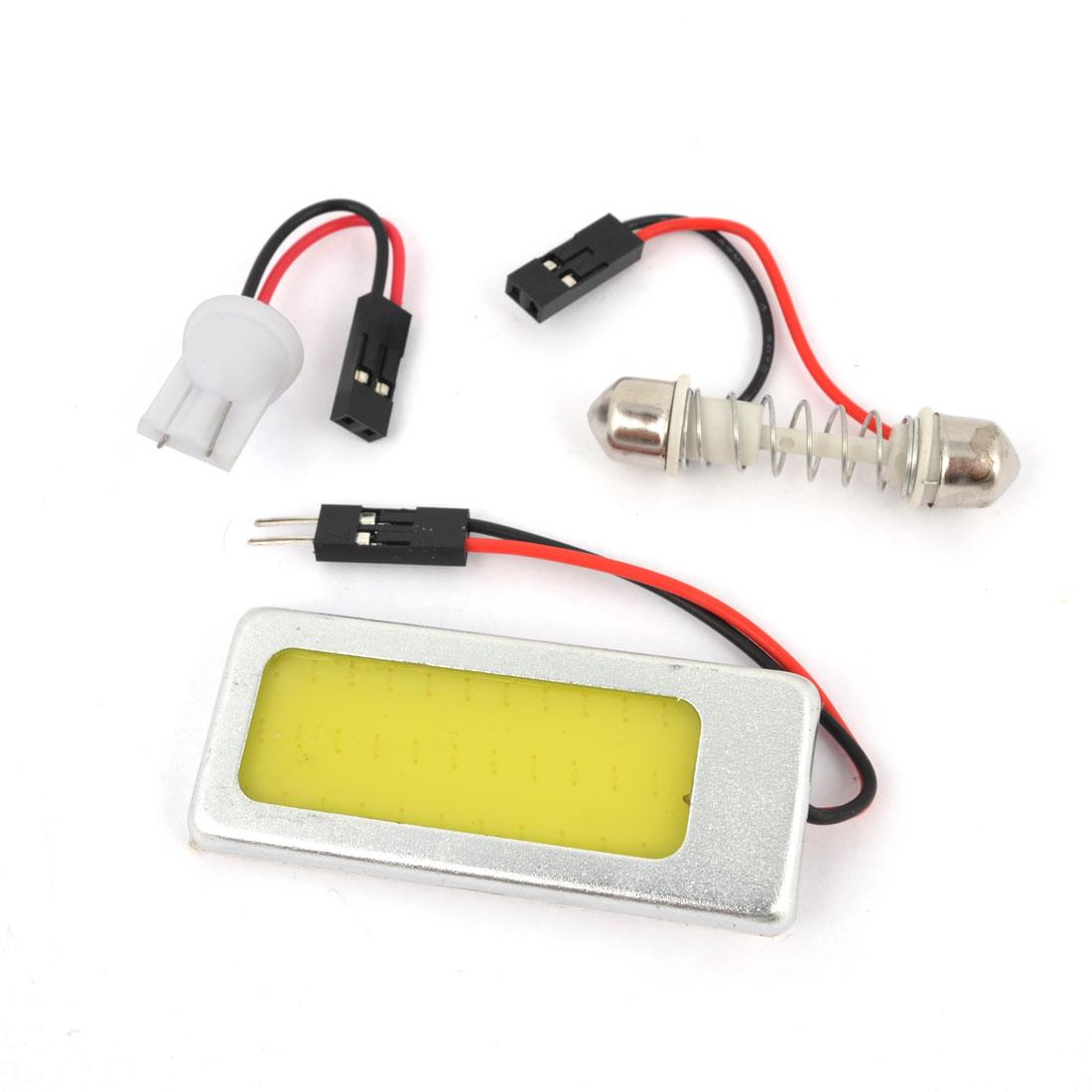 Internal Car Metal Frame White 24 COB LED Dome Lamp Panel + T10 Festoon Adapter