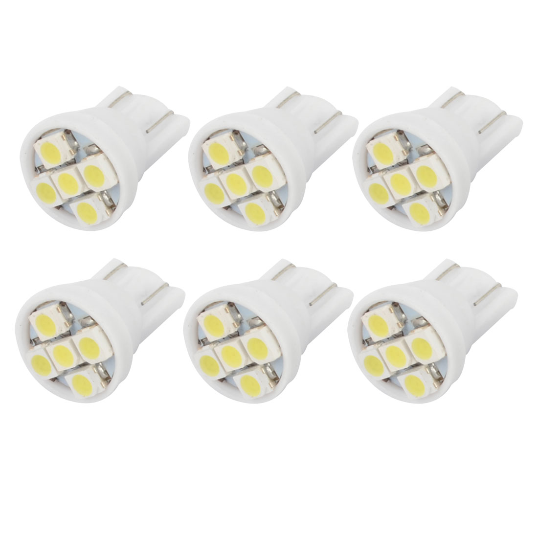 Internal White T10 W5W 1210 SMD 5 LEDs Instrument Bulbs Wedge Light Lamp 6PCS
