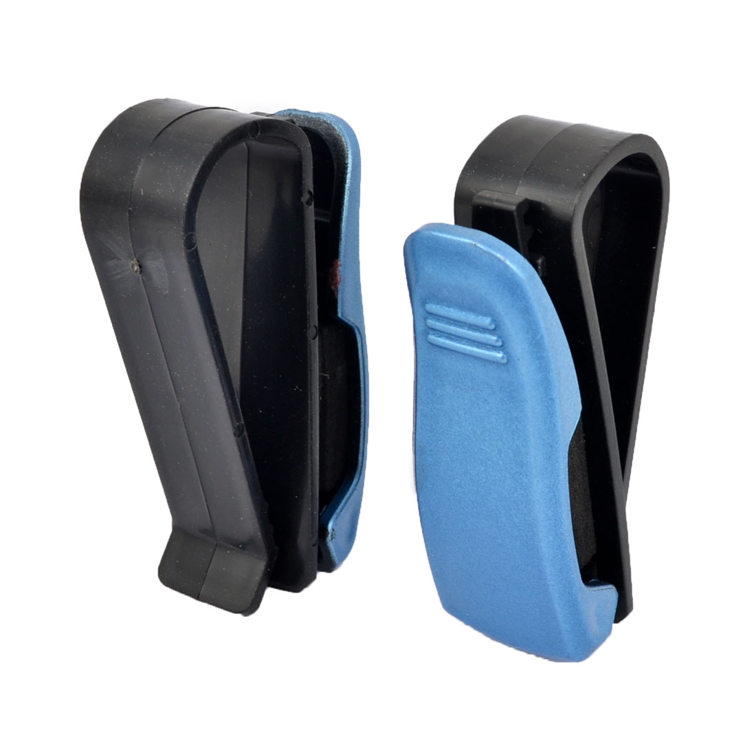 Car Vehicle Sun Visor Cards Eye Glasses Holder Clip Clamp Black Blue 2 Pcs