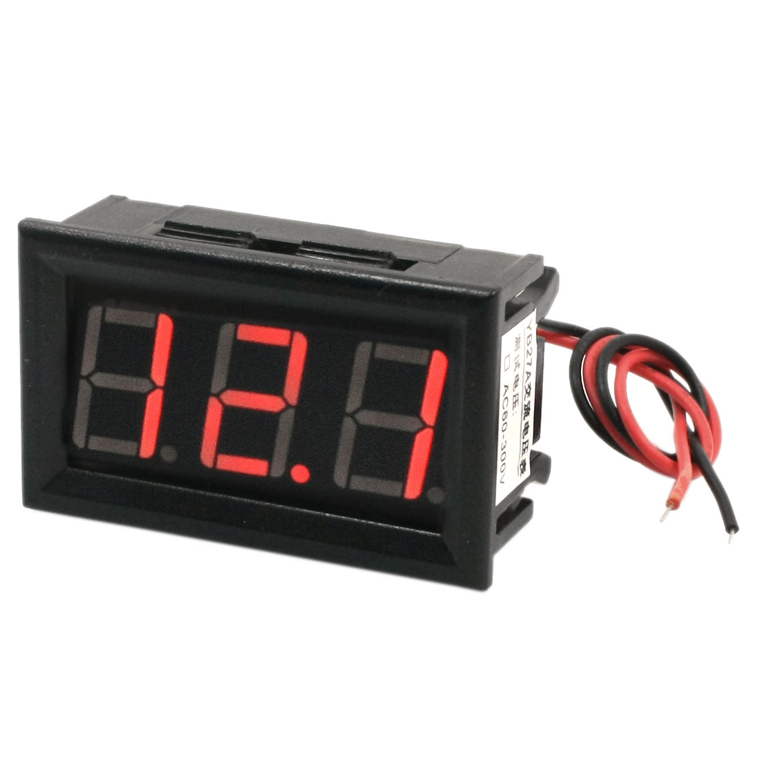 YB27 Panel Mount 2-Wired Connect 7-Segment 3-Digit Blue LED Digit Voltage Test Voltmeter AC 60-500V