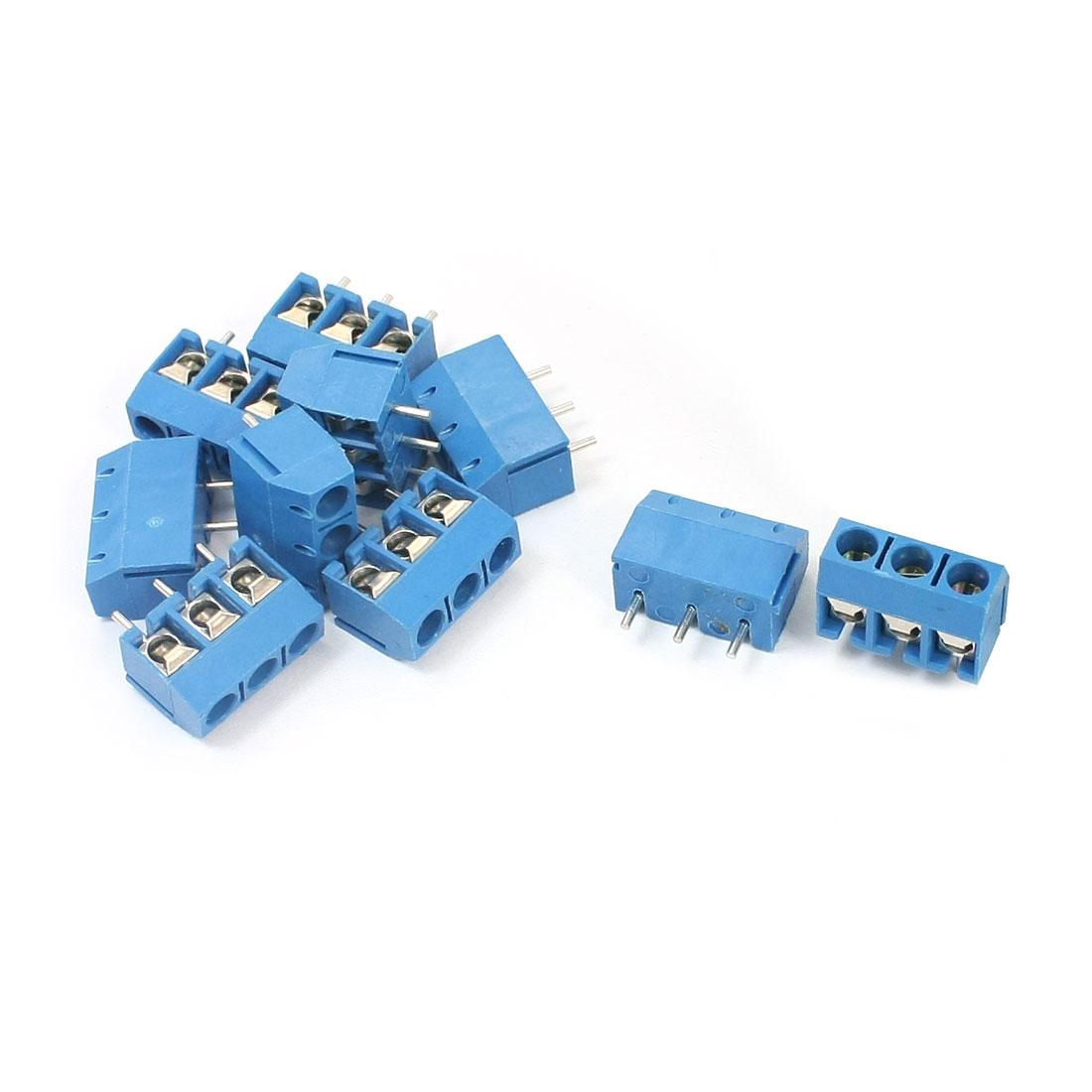 10Pcs 5.08mm 3P Pluggable Type Blue Screw Terminal Block 300V 10A