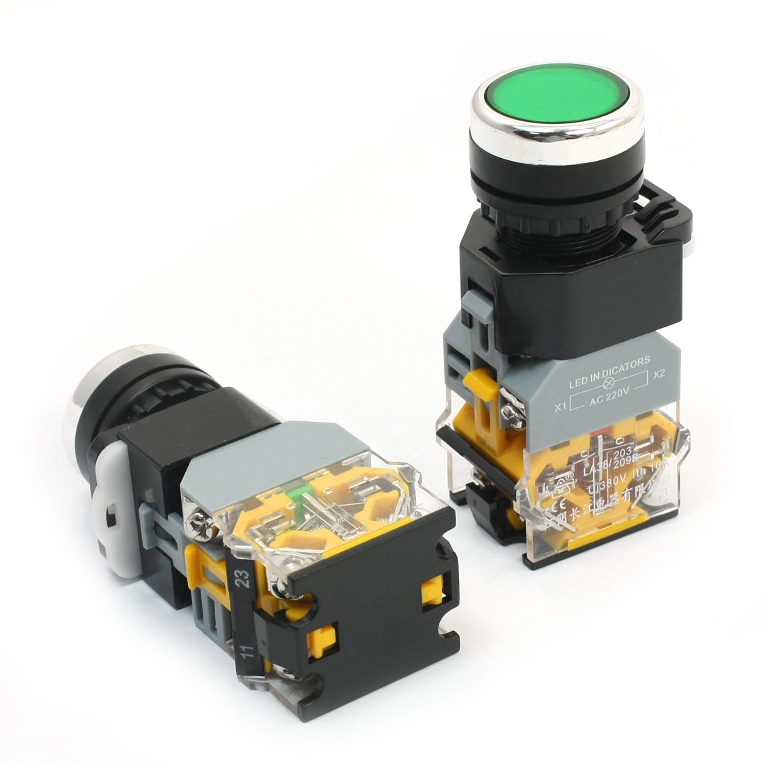 2Pcs Ui 380V Ith 10A 22mm Thread Panel Mounting Green Light DPST 1NO 1NC 6 Screw Terminals Momentary Plastic Push Button Switch