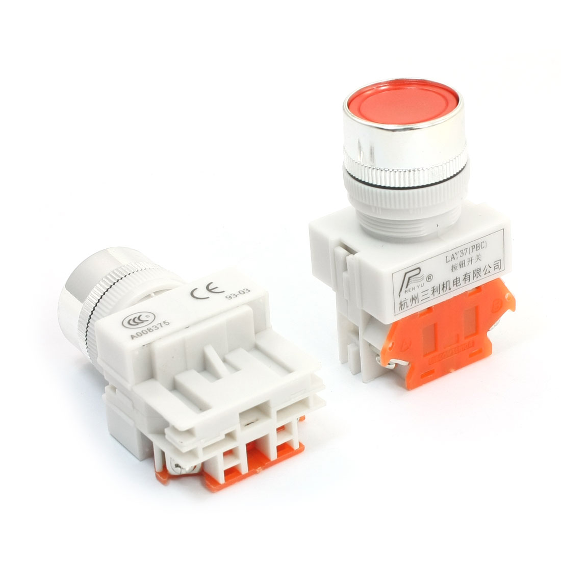 LAY37-01BN Ui 600V Ith 10A 22mm Thread Panel Mounting SPST 1NC Normal Close Momentary Plastic Stop Push Button Switch 2 Pcs
