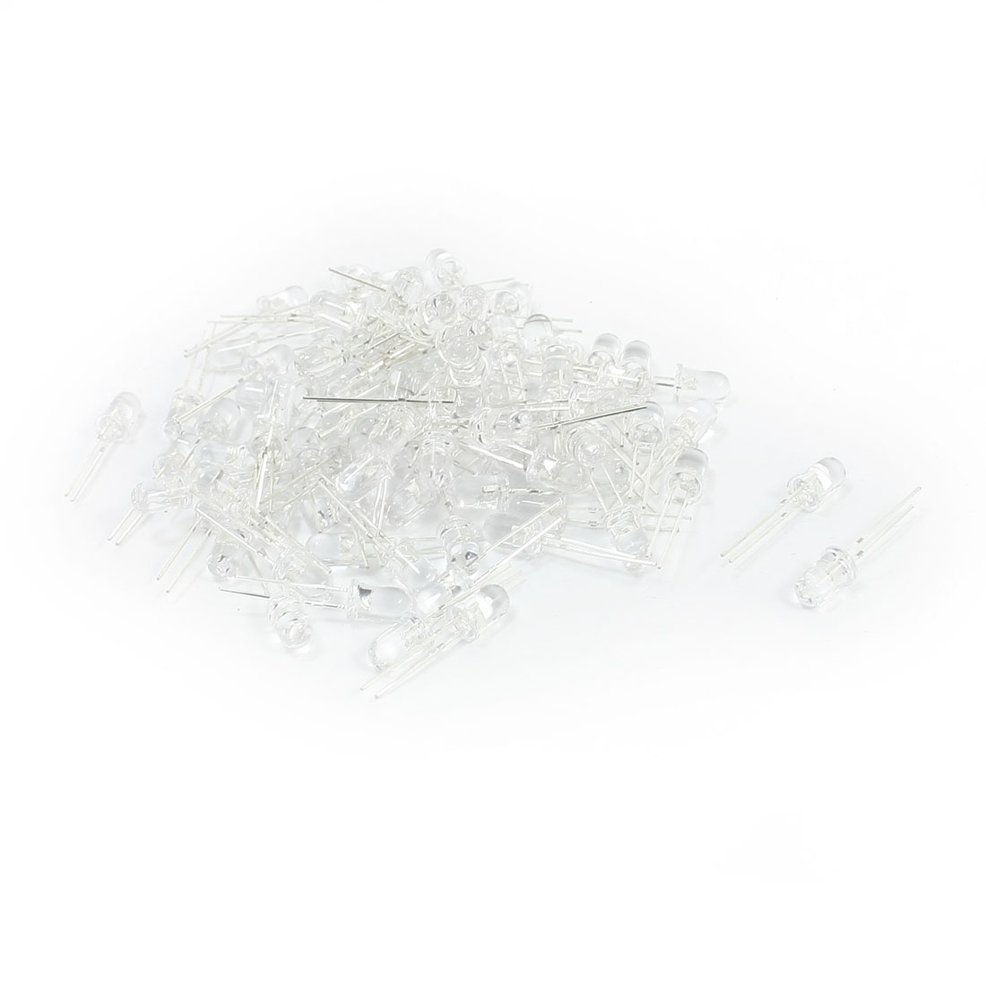 100Pcs 5mm Round White Plastic Head 2 Terminals Soldering Blue LED Diffused Light Emitting Diode
