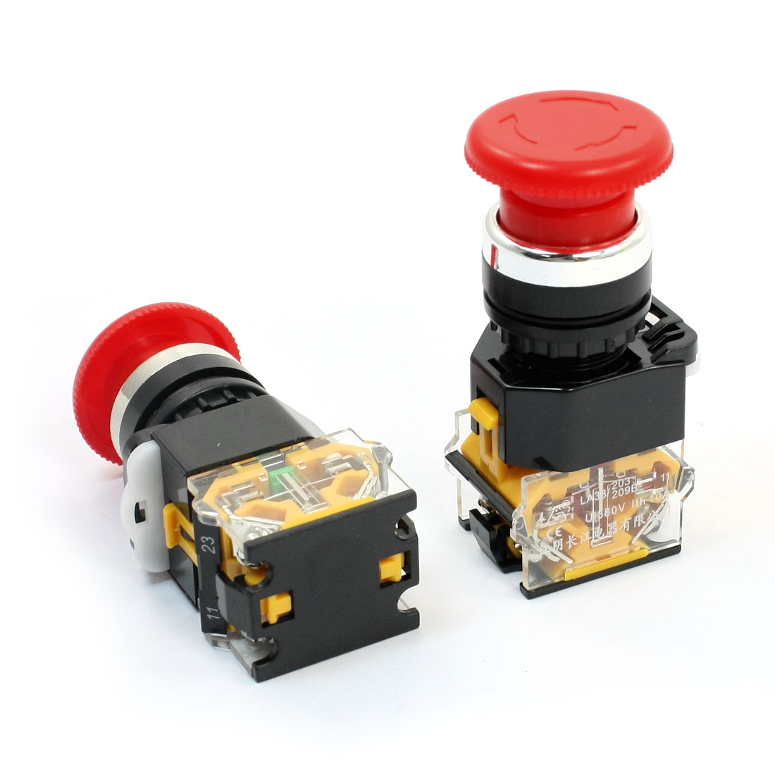 Ui 380V Ith 10A 21mm Thread Panel Mounting DPST Latching Rotary Reset Red Mushroom Head Push Button Switch 2Pcs