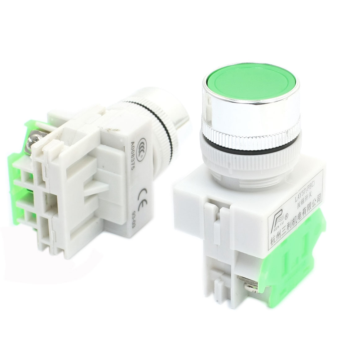 2Pcs Ui 600V Ith 10A 22mm Thread Panel Mount SPST 1NO Normal Open Momentary Action Plastic Start Push Button Switch LAY37-10BN