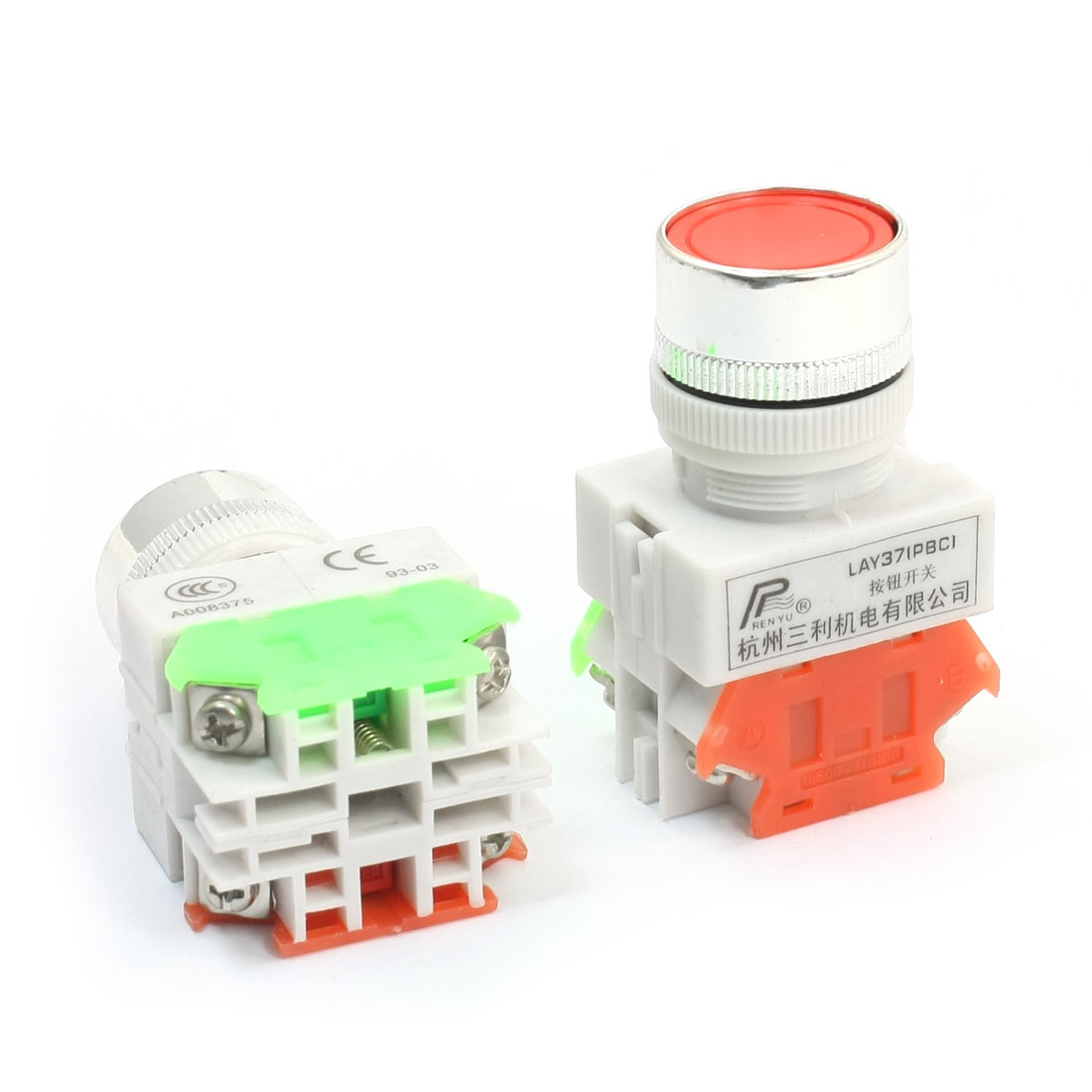 2Pcs Ui 600V Ith 10A 23mm Thread Panel Mounting DPST 1NO 1NC 4 Screw Terminal Momentary Action Plastic Push Button Switch