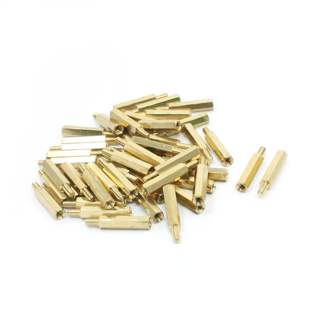 50 Pcs M3 x 20mm x 26mm Male to Female Thread Gold Tone Brass Pillar PCB Hexagon Standoff Spacer