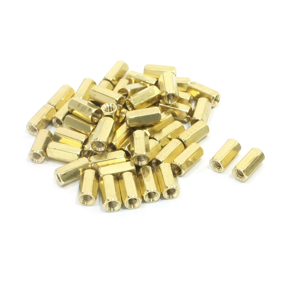 10mm Length M3 Female Thread Dual Ends Gold Tone Brass Pillar Hexagonal Nut PCB Standoff Spacer 50Pcs